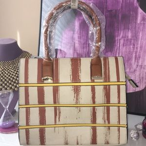 Handbags - NWT Vegan leather beige/brown handbag